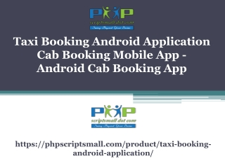Taxi Booking Android Application
