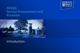 D31SQ Service Procurement and Provision