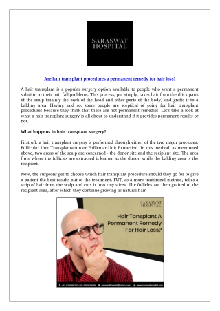 Are hair transplant procedures a permanent remedy for hair loss?