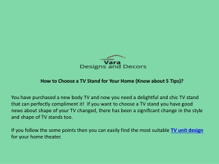 How to Choose a TV Stand for Your Home (Know about 5 Tips)?