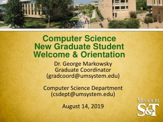 Computer Science New Graduate Student Welcome & Orientation