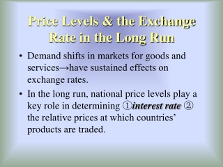 Price Levels & the Exchange Rate in the Long Run