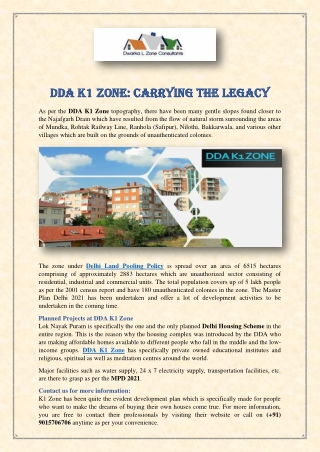 DDA K1 Zone: Carrying the Legacy