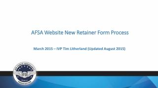 AFSA Website New Retainer Form Process