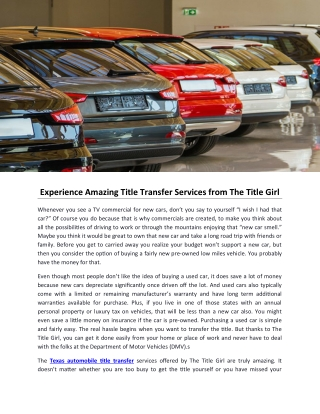 Experience Amazing Title Transfer Services from The Title Girl