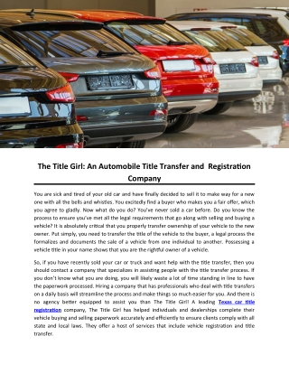 The Title Girl: An Automobile Title Transfer and Registration Company