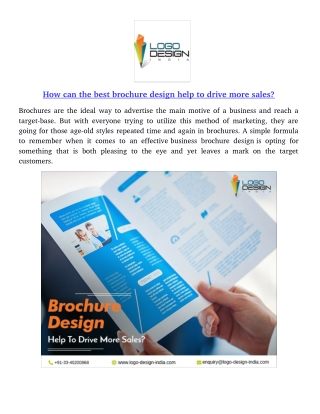 How can the best brochure design help to drive more sales?