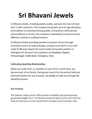 Famous Jewellery shops in Hyderabad.- Sri Bhavani Jewels