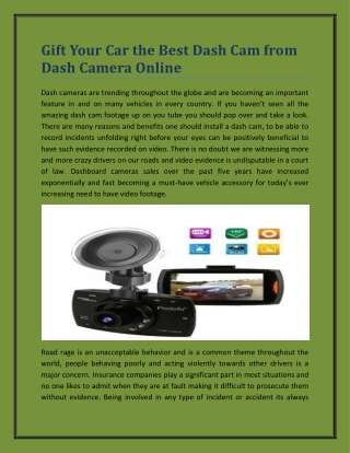 Gift Your Car the Best Dash Cam from Dash Camera Online
