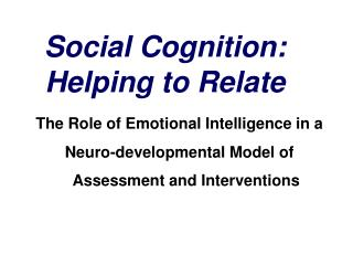 Social Cognition: Helping to Relate