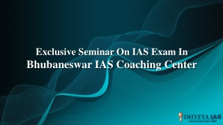 Exclusive seminar on ias exam in bhubaneswar ias coaching center
