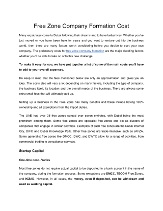 Free Zone Company Formation Cost