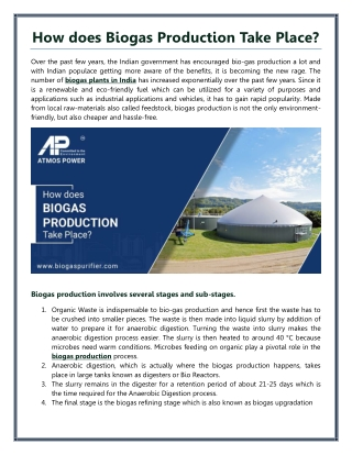 How does Biogas Production Take Place?