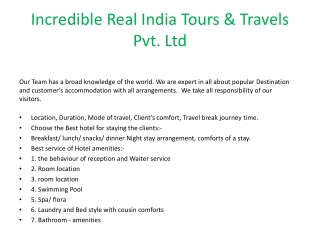 Incredible Real India Tours & Travels Pvt. Ltd.
