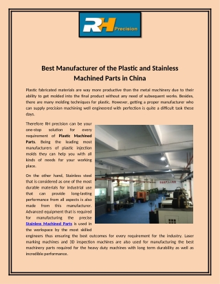 Best Manufacturer of the Plastic and Stainless Machined Parts in China