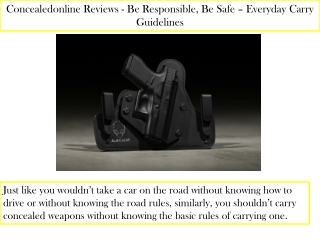 Concealedonline Reviews - Be Responsible, Be Safe – Everyday Carry Guidelines