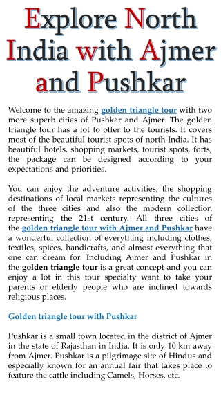 Explore North India with Ajmer and Pushkar