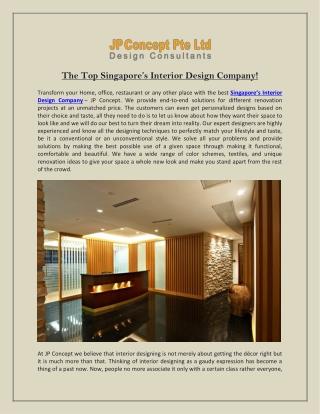 The Top Singapore's Interior Design Company!