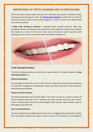 Importance Of Teeth cleaning And Its Procedure