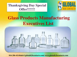 Glass Products Manufacturing Executives List