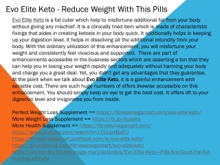 Evo Elite Keto - Reduce Weight With This Pills
