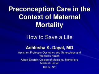 Preconception Care in the Context of Maternal Mortality