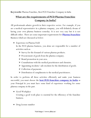 What are the requirements of PCD Pharma Franchise Company in India?