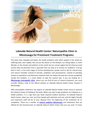 Lakeside Natural Health Center: Naturopathic Clinic in Mississauga for Prominent Treatment Programs