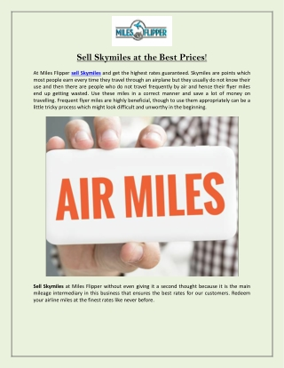 Sell Skymiles at the Best Prices!