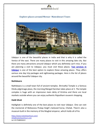 Explore places around Mewar- Mateshwari Tours