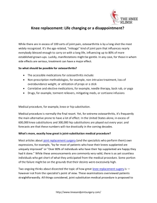 Knee replacement: Life changing or a disappointment?