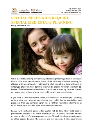 Special needs kids require specialized estate planning