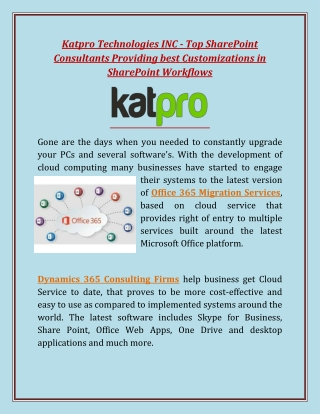 Katpro Technologies INC - Top SharePoint Consultants Providing best Customizations in SharePoint Workflows
