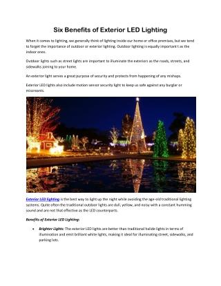 Six Benefits of Exterior LED Lighting