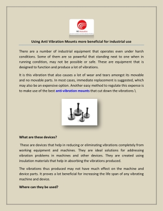 Using Anti Vibration Mounts more beneficial for industrial use