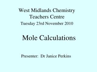 Mole Calculations
