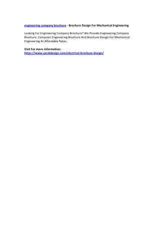 Engineering Company Brochure - Brochure Design For Mechanical Engineering
