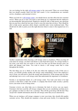 How to choose a self storage in manchester
