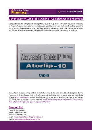 Generic Lipitor 10mg Tablet Online