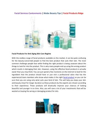 Beauty Tips & Facial Products Ridge