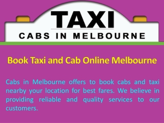Book Taxi and Cab Online Melbourne