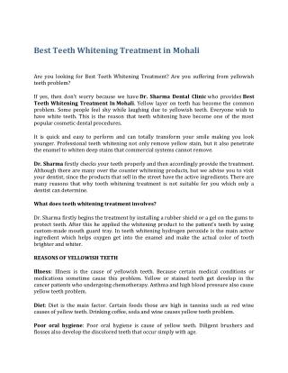 Best Teeth Whitening Treatment In Mohali
