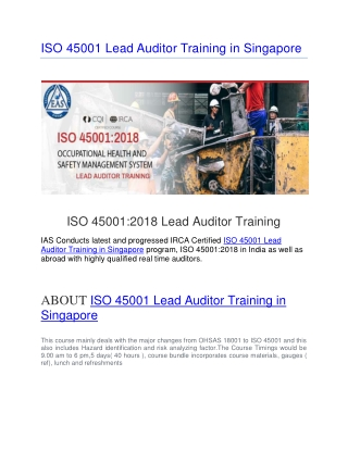 ISO 45001 Lead Auditor Training in Singapore |ISO 45001 Lead Auditor Course in Singapore |OHSMS Lead Auditor Training in
