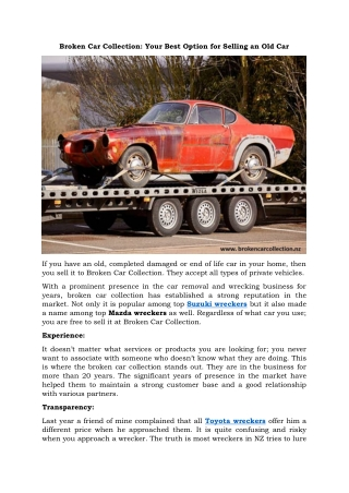 Broken Car Collection: Your Best Option for Selling an Old Car
