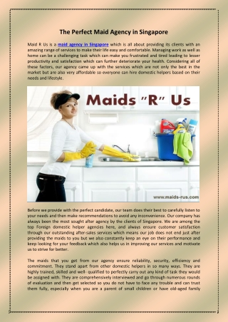 The Perfect Maid Agency in Singapore