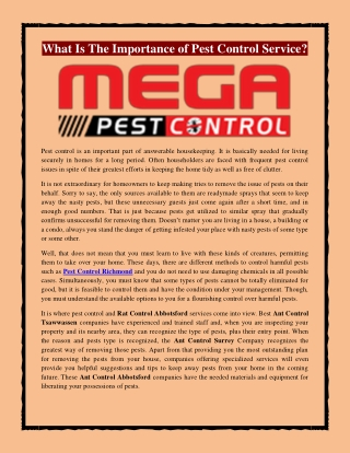 What Is The Importance of Pest Control Service?