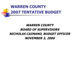 WARREN COUNTY  2007 TENTATIVE BUDGET
