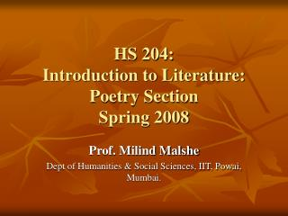 HS 204:  Introduction to Literature:  Poetry Section Spring 2008