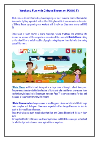 Weekend Fun with Chhota Bheem on POGO TV