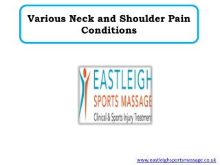 Various Neck and Shoulder Pain Conditions